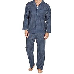 Best Deals Direct Hommes Insignia Uni Poly Coton Pyjama Ensemble Traditionnel Coupe Classique - Bleu Marine à Carreaux, M