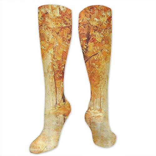 CVDGSAD Painting of A Forest Women&Men Socken Dress Socken Length 19.7in/Width 3.4in Polyester Material Knee High Socken Girls Socken Mid Stockings Personality Socken