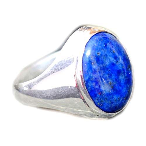 Gemsyogi Unisex Damen Herren - Sterling-Silber 925 Oval Blue Lapislazuli