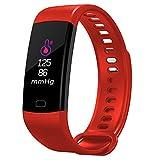 Gskj Fitness-Tracker Touch Screen Bluetooth Schrittzähler Smart Armband Schlafmonitor Geeignet Für Kinder, Senioren, Männer, Frauen,Red