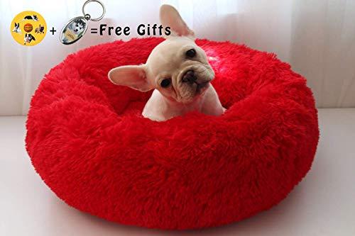 Lamzoom - Deluxe-Haustierbett für Katzen und kleine bis mittelgroße Hunde. Kuschelig mit weichem Kissen. Rund oder oval Nisthöhle/Bett für Haustiere (Katzen und kleine Hunde) in Doughnut-Form. -