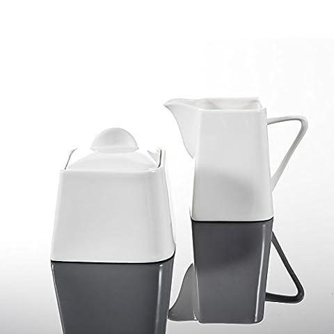 Malacasa, Series Joesfa, 3-Piece Ivory White Porcelain China Ceramic Sugar
