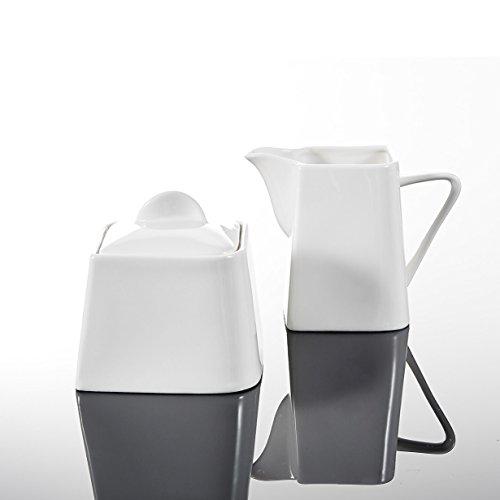 Malacasa, Serie Joesfa, 3-teilig Cremeweiß Porzellan Milch und Zucker Set mit Deckel, Milchkännchen Zuckerdose Milch- & Zuckerbehälter Küchenhelfer