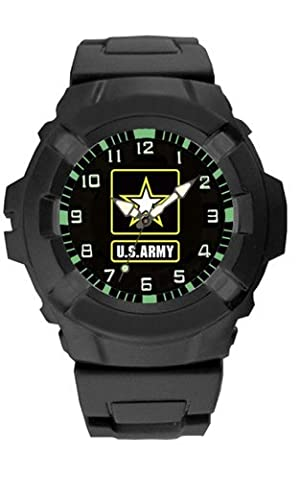 Aqua Force US Army Logo 47mm Diameter Quartz Watch, Black with Black Face by Aqua Force