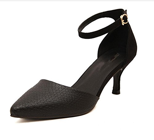 YMXJB Chaussures à talon haut Fashion avec sandale talons pointus Black