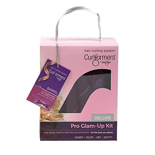 Curlformers Deluxe Glam-Up - Lockenstyling-Set für große Locken - für mittellanges bis langes Haar bis zu einer Länge von 40 cm - ohne Hitze - mit 16 Lockenwicklern und 1 Stylinghaken (Und Lila Gold Lockenstab)