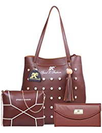 Speed X Fashion Women's PU Handbag Combo (LWH00STY, Brown)