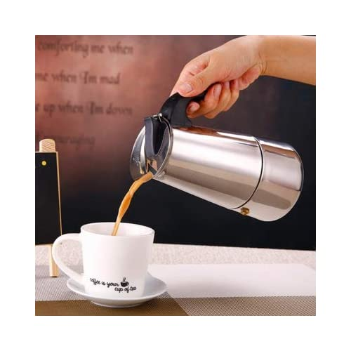 41EeXYNjTfL. SS500  - JIN CAN High Quality Mocha Pot, Made of 430 Stainless Steel, 6 Cups (300 ml), Portable Electric Coffee Machine, Espresso…