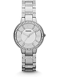 FOSSIL Virginia Stainless Steel Watch – Silver Analogue Women's Quartz Wrist Watch with Clear Crystal Applications on Bezel and Bracelet in Gift Box - 10 ATM Water Resistant