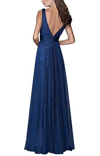 Brinny Sexy Col V Deep Femme Robe de Mariage de Bal de Soirée de Cocktail Tulle Dos Nue Sans manches Sequin Grand Swing Maxi Robe Mince Bleu / Beige / Rouge Bleu