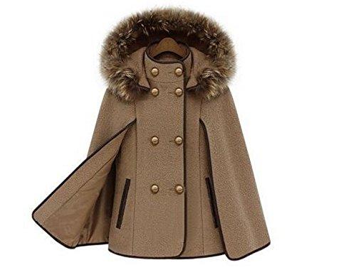 Hikenn Europäischen Stil Mit Kapuze Poncho Jacke Peacoat Frauen Winter Capes und Mäntel Zweireiher Wollmantel mit Flügelhülsen Khaki