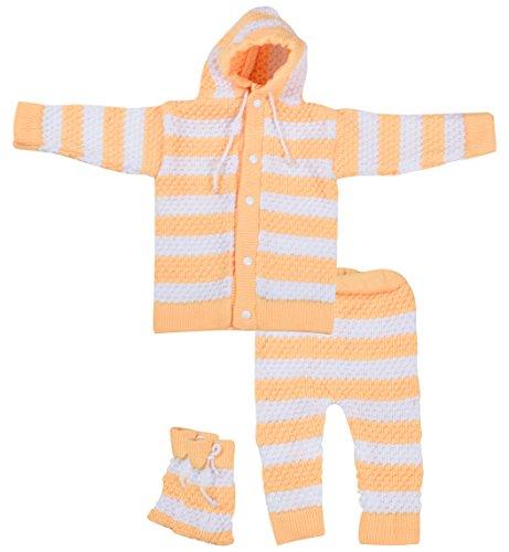 Kuchipoo Baby Girls' Regular Fit Sweater Set (Yellow, 0-6 Months)