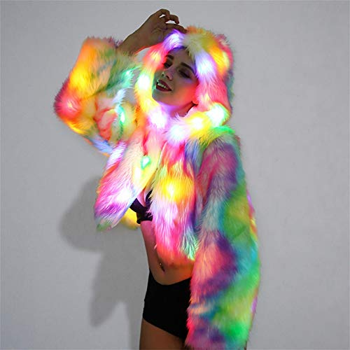 AGLT Frau Halloween Cosplay Kleidung Frau Weihnachten Party Abendkleid Weiblich Gala Performance Kleidung LED-Licht Blitz Einheitsgröße, Color