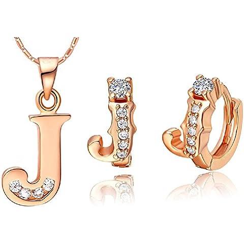 Bling fashion placcato in oro rosa 18K 30lettere lettera J Collana e (Dragonfly 9 Accent)