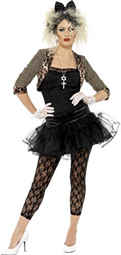 Damen Madonna Kostüm 1980er Punk Pop Ikone - Schwarz, EU (1980 Kostüme Punk)