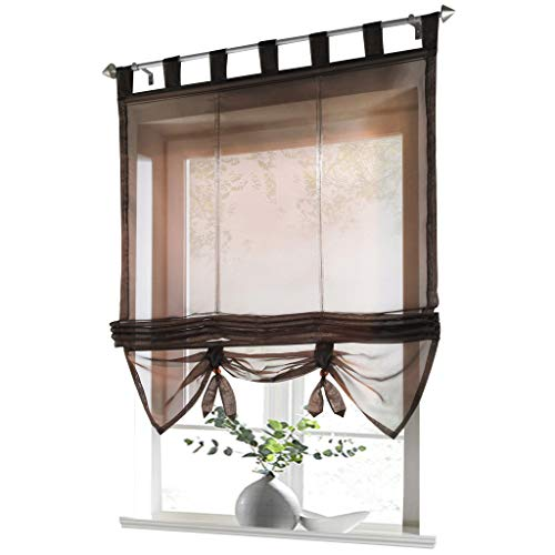 ESLIR Raffrollo mit Schlaufen Gardinen Küche Raffgardinen Transparent Schlaufenrollo Vorhänge Modern Voile Braun BxH 140x155cm 1 Stück