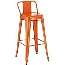 clp tabouret de bar en mtal mason tabouret de bar industriel avec dossier et repose - Tabouret Bar Orange