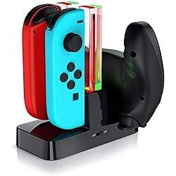 CSL - Station de charge pour manettes J-Con Nintendo Switch |4 x J-Con ou 2 x J-Con+ 1 x Pro Controller | LED d'état | Noir