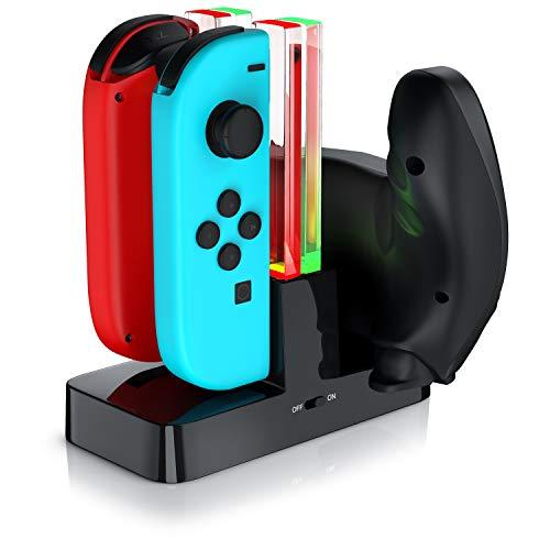 CSL - Estación de Carga Nintendo Switch para los Joy-Con |4 x J-Con o 2 x J-Con + 1 x mando Pro Nintendo Switch | LED de estado | Negro