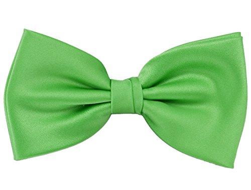 Puccini PUCCINI Einfarbige Fliege Herren, Satin-Schimmer, verschiedene Farben, Mikrofaser, Handarbeit, Hochzeit & Alltag (Apfelgrün)
