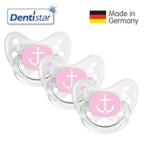 Preisvergleich Produktbild Dentistar® Schnuller 3er Set- Nuckel Silikon in Größe 3, ab 14 Monate - zahnfreundlich & kiefergerecht - Beruhigungssauger für Babys - Weiß/Rosa Ankerherz