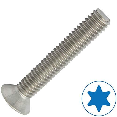 D2D | VPE: 10 Stück - Senkschrauben Größe M6 x 80 mm mit Vollgewinde und TX - ISO 14581 / DIN 965 aus Edelstahl A2 V2A - Senkkopfschrauben