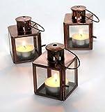 Purity 3 Mini-Laternen aus Glas, kupferfarben
