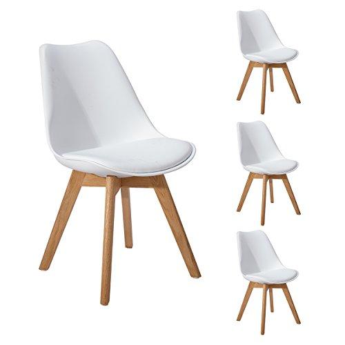 DORAFAIR Pack 4 sillas escandinava Estilo nórdico Silla de Comedor, con Las piernas de Madera de Roble Maciza y cojín...