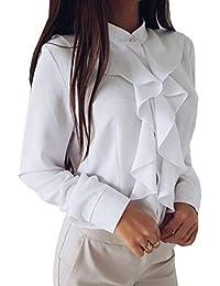 7f0b87ffd2a79a Cheerlife Damen Bluse Langarm Elegant Stehkragen mit Puffärmeln und Volants  Rüschung OL Business Slim…