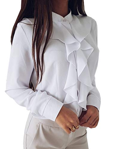 Cheerlife Damen Bluse Langarm Elegant Stehkragen mit Puffärmeln und Volants Rüschung OL Business Slim Fit Chiffonbluse M Weiß