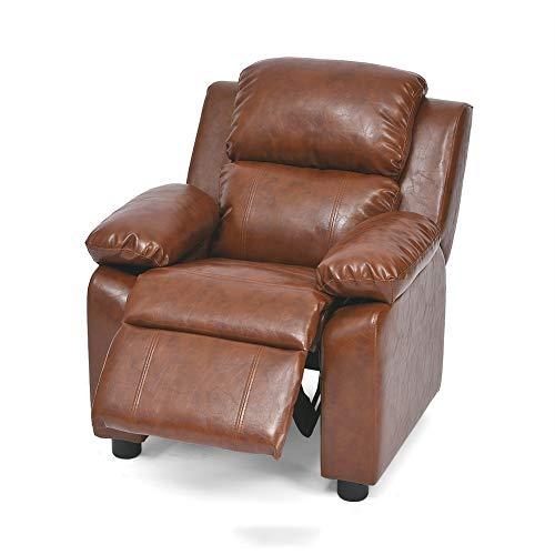 WAYERTY Kindersofa, Kindersessel Möbel Deluxe Gepolsterte Zeitgenössische Vinyl Mini-Sessel Liege Mit Storage-Arme-braun 64x67x73cm(25x26x29inch) - Leder-zeitgenössische Möbel