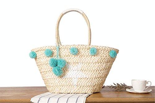 Le borse della borsa della paglia della spalla le signore di sfera dei capelli Semplicità e le donne tessute alla moda tessono il tessuto semplice Beach Tote , star qiumei red hair star hair blue