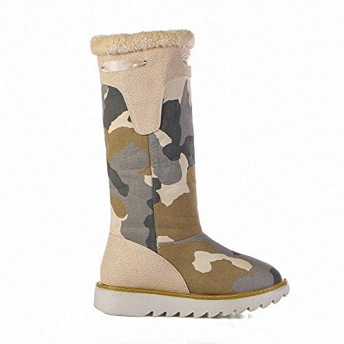 AllhqFashion Damen Gemischte Farbe Denim Niedriger Absatz Ziehen auf Rund Zehe Stiefel, Schwarz, 43
