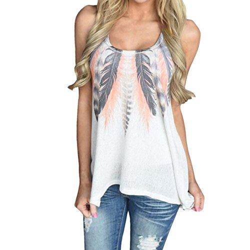 SANFASHION Damen Sommer Sexy Feder Print ärmellose Shirts Bluse Casual Tank Tops T-Shirt
