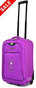 "Ryanair Cabin Approved Lightweight Hand Luggage Suitcases wheeled luggage (20"" (55 x 35 x 20cm), Purple MM24)"