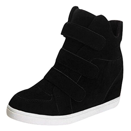 Oasap Women's Solid Height Increasing Velcro Platform Shoes Noir