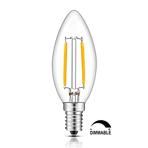 TAMAYKIM C35 2W Dimmable Ampoule Filament LED - 2700K Blanc Chaud 200lm - 2 Watts (Watt Torpedo Candelabra Base)