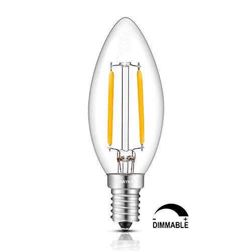 TAMAYKIM 2W Dimmable LED Filament Candle Light Bulb, 4000K Neutral White 250LM, E14 Candelabra Base Lamp, C35 Torpedo…