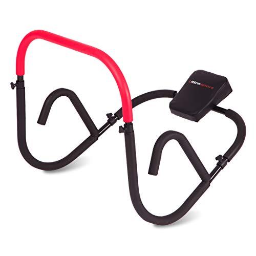 Ultrasport ab trainer attrezzo efficace per allenare addominali a casa, trainer per addominali con morbido appoggio della testa, pieghevole e compatto, ab-roller, attrezzo addominali