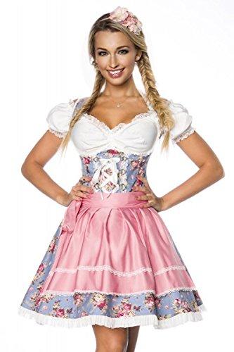 Elf Traditionelle Kostüm - DIRNDLINE 3-tlg. Mini-Dirndl Trachtenkleid mit floralem Muster (Kleid, Schürze & Bluse) in 2 Farben A70001, Größe:40;Farbe:blau