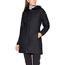 Columbia Chaqueta Impermeable para Mujer, Largo Medio, Powder Lite Mid Jacket, Negro (Black), Talla M