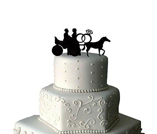 Cavallo e carrello Topper Per Torta Nuziale, 2anelli torta nuziale, acrilico, Topper per torta nuziale,-Topper per torta nuziale, Cavallo Sand Glitter