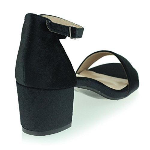 Femmes Dames Velours Orteil Ouvert Sangle de Cheville Talon Moyen Soir Casual Formel Fête Des sandales Chaussures Taille Noir