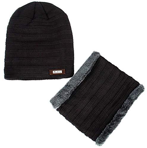 Boboder Sombrero de Gorrita Tejida de Invierno Conjunto Gorro de esquí de Punto Grueso Caliente con Tapa de Lana para Hombre Adulto Unisex