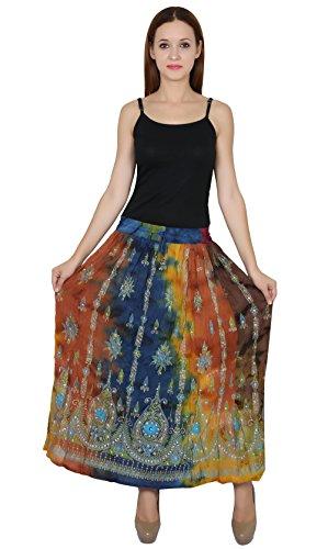 Nakashi Rayon Wrinkle Skirt Indian Hippie Boho Jupe Retro Falda Women Rock Gypsy.