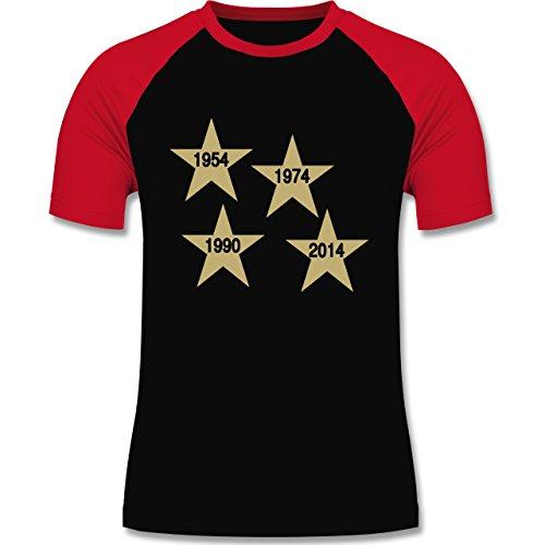 Fußball - Weltmeister 2014 Der vierte Stern - zweifarbiges Baseballshirt für Männer Schwarz/Rot