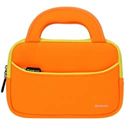 Evecase OLPC XO-780 pulgadas Estuche Maletín Universal de neopreno con manija para OLPC infantil Tablet XO-780 Tablet PC, color anaranjado con borde amarillo