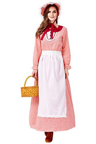 Tollstore Pioneer Colonial Historische Kostüm, Damen Viktorianisch Pioneer Kolonial Bauer Kostüm Prairie Kleid Rot XL (Kolonial Dame Mädchen Kostüm)