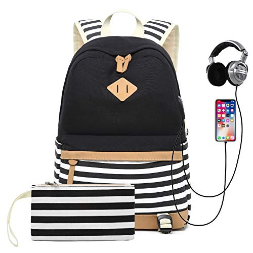 Mädchen Schulrucksack Canvas Stripes Schultasche College Student Rucksack Travel Schule Backpack mit USB Ladeanschluss und Headset Port
