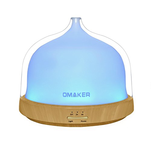 Aroma Diffuser Omaker Ultraschall Duft Diffuser Luftbefeuchter Holzmaserung mit 7-LEDs Farbwechsel, 200ml